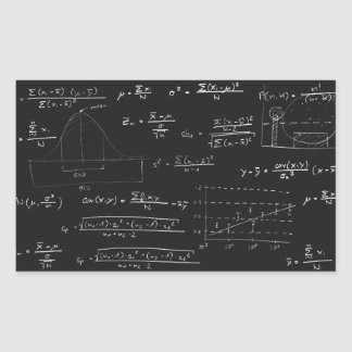 Statistics blackboard rectangular sticker