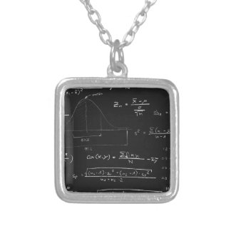 Statistics blackboard silver plated necklace
