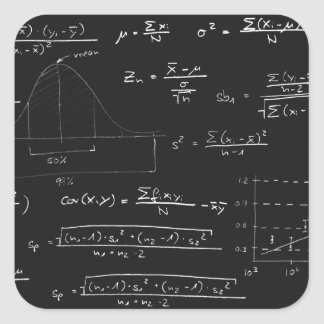 Statistics blackboard square sticker