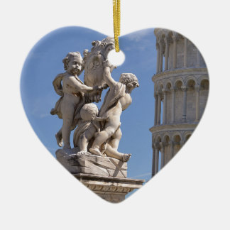 Statue and leaning Tower of Pisa Ceramic Heart Decoration