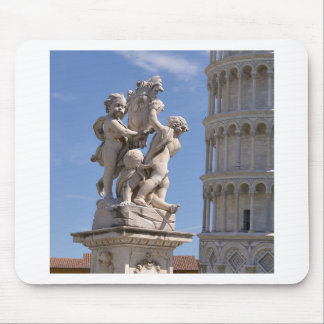 Statue and leaning Tower of Pisa Mouse Pad