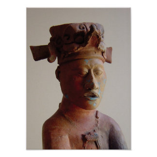Statue at Palenque Poster