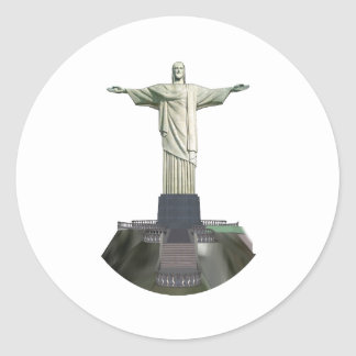 Statue: Christ the Redeemer: 3D Model: Classic Round Sticker