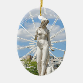 Statue depicting woman in Paris Ceramic Oval Decoration