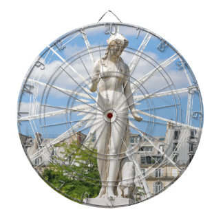 Statue depicting woman in Paris Dartboard