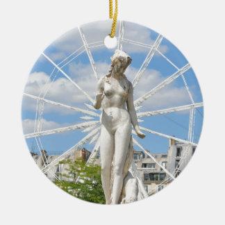 Statue depicting woman in Paris Round Ceramic Decoration