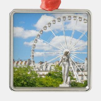 Statue depicting woman in Paris Silver-Colored Square Decoration