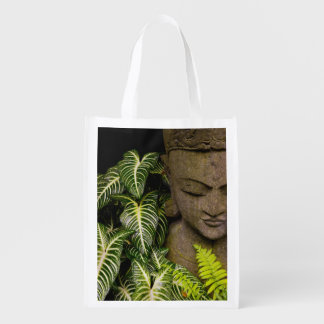 Statue in a Garden: Chiang Mai, Thailand Reusable Grocery Bag