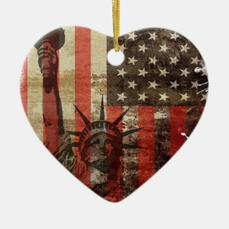 Statue Liberty USA Ceramic Heart Decoration
