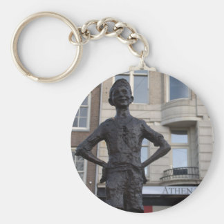 Statue of a Street Child, Amsterdam Basic Round Button Key Ring