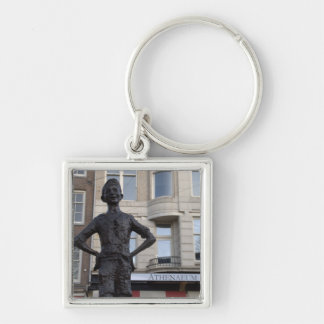 Statue of a Street Child, Amsterdam Silver-Colored Square Key Ring