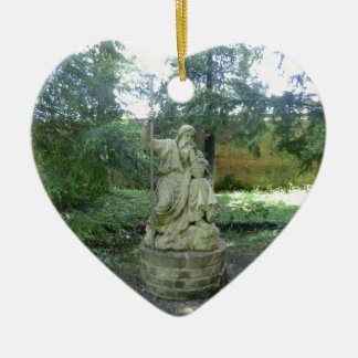 Statue of a Welsh Druid at Erddig Hall Ceramic Heart Decoration