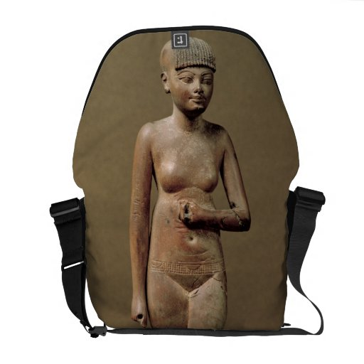 Statue of a young servant girl (wood) messenger bag