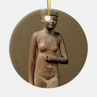 Statue of a young servant girl (wood) round ceramic decoration