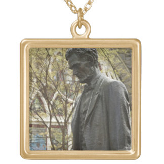 Statue of Abraham Lincoln, Portland, Oregon Gold Plated Necklace