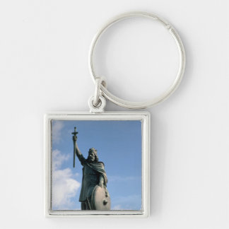 Statue of Alfred the Great Silver-Colored Square Key Ring