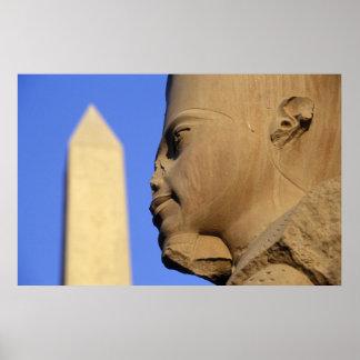Statue of Amun-Re with Obelisk, Karnak (Egypt) Poster