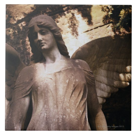Statue of an Angel in a Cemetery Large Square Tile