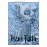 Statue of angel in outdoors in winter greeting card
