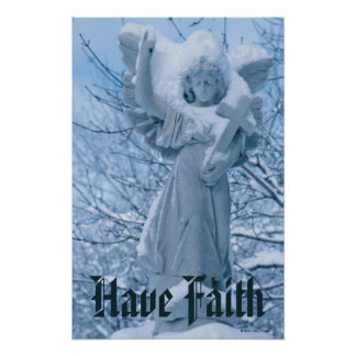 Statue of angel in outdoors in winter poster