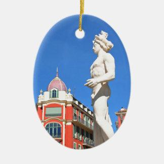 Statue of Apollo (Neptune) overlooking Place Masse Ceramic Oval Decoration