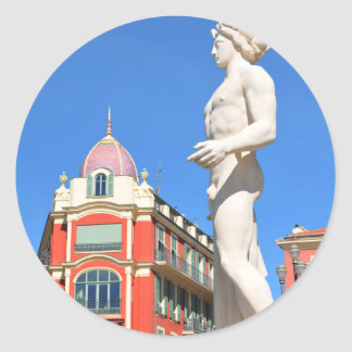 Statue of Apollo (Neptune) overlooking Place Masse Classic Round Sticker