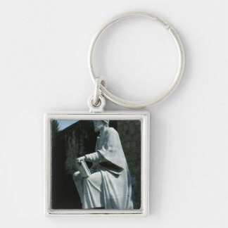 Statue of Averroes Silver-Colored Square Key Ring