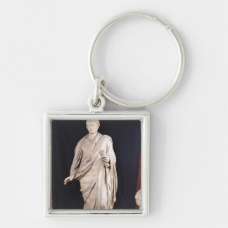 Statue of Caesar Augustus Silver-Colored Square Key Ring