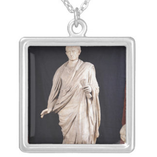Statue of Caesar Augustus Silver Plated Necklace