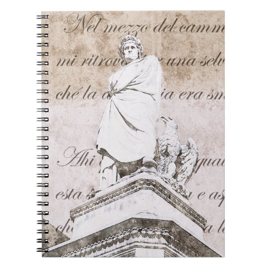 Statue of dante Allighieri with the Divine Comedy Spiral Notebook