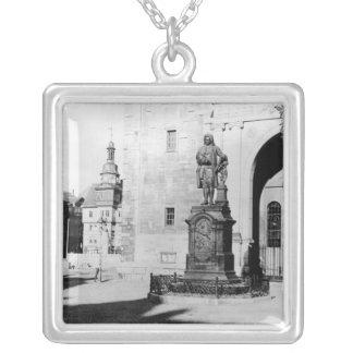 Statue of Johann Sebastian Bach Square Pendant Necklace