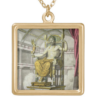Statue of Jupiter in a Temple, from 'Costumi dei R Gold Plated Necklace