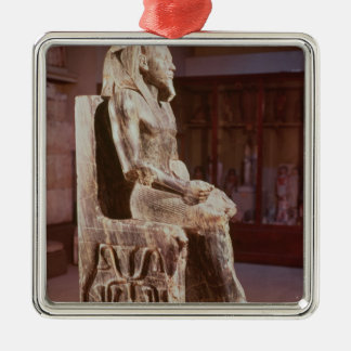 Statue of Khafre  enthroned Silver-Colored Square Decoration