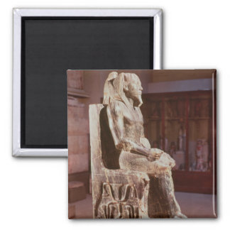 Statue of Khafre  enthroned Square Magnet