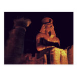 Statue of king in Luxor Temple in Egypt by night Postcards