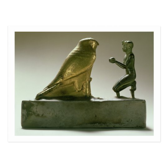 Statue of King Taharqa worshipping the falcon-god Postcard