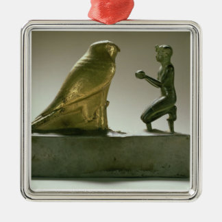 Statue of King Taharqa worshipping the falcon-god Silver-Colored Square Decoration
