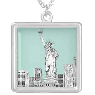Statue of Liberty 2 Silver Plated Necklace