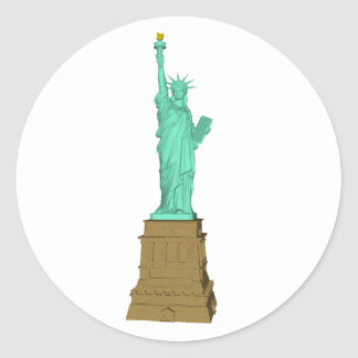Statue of Liberty: 3D Model: Classic Round Sticker