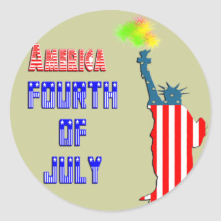 Statue of liberty 4th of July Round Stickers