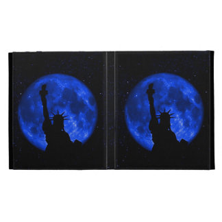 Statue of Liberty against a blue Moon iPad Folio Cover
