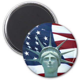 Statue of Liberty American flag 6 Cm Round Magnet