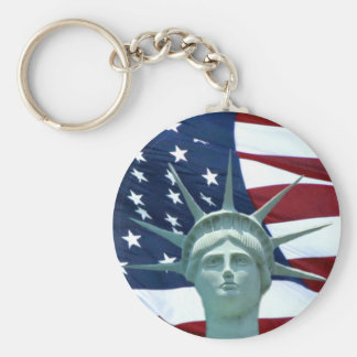 Statue of Liberty American flag Basic Round Button Key Ring