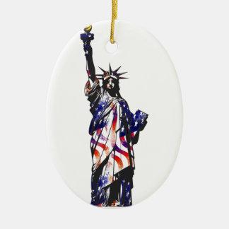 Statue Of Liberty American USA National Flag Indep Christmas Ornament