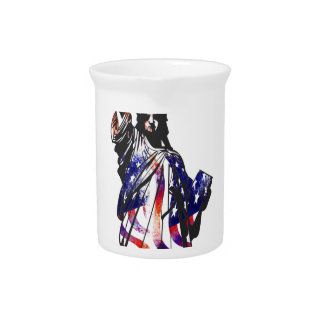 Statue Of Liberty American USA National Flag Indep Pitcher