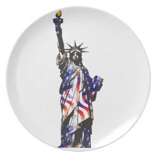 Statue Of Liberty American USA National Flag Indep Plate
