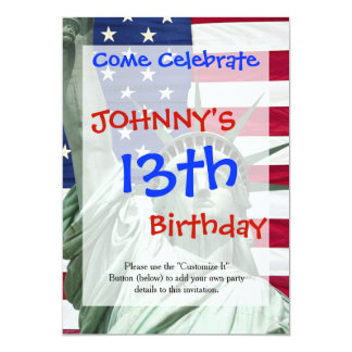 Statue of Liberty and American Flag 13 Cm X 18 Cm Invitation Card