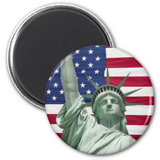 Statue of Liberty and American Flag 6 Cm Round Magnet