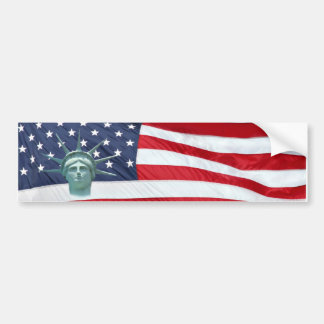 Statue of Liberty and American Flag Bumper Sticker