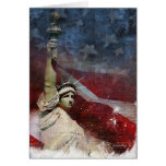 Statue of Liberty and American Flag Greeting Card